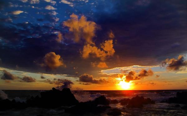 Earth Sunset Wave Coastline Beach Shore Scenic Sky Cloud Ocean Sea Rock HD Wallpaper | Background Image