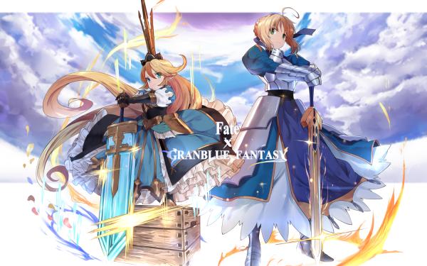 Anime Crossover Charlotta Granblue Fantasy Fate/Grand Order Long Hair Blonde Green Eyes Sword Weapon Blue Eyes Artoria Pendragon HD Wallpaper | Background Image