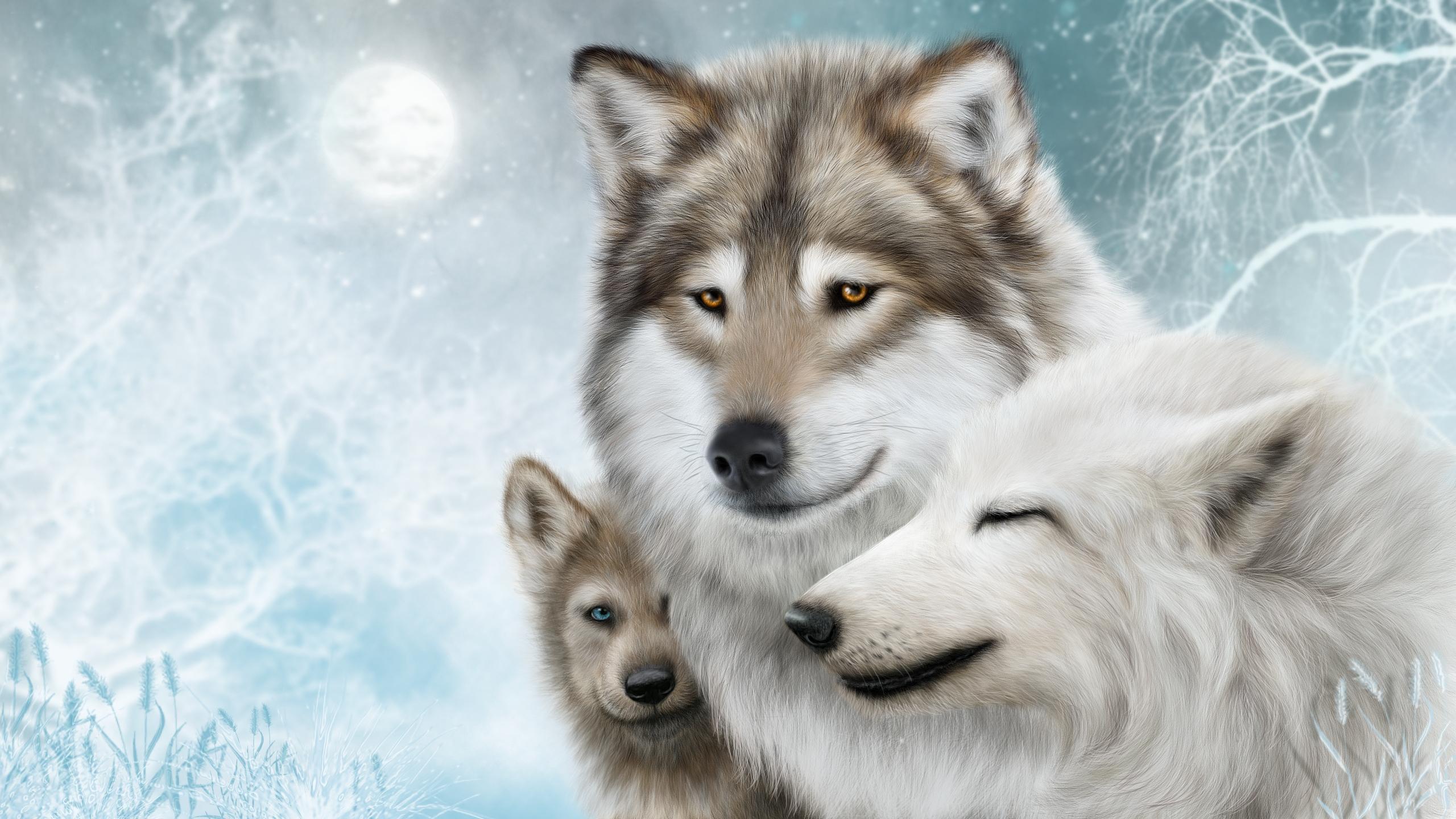 Nevada Wolf Pack Wallpaper: Wolf Painting Fondo De Pantalla HD