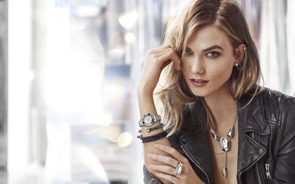 Celebrity Karlie Kloss Models United States Model American Blonde Necklace Bokeh HD Wallpaper | Background Image
