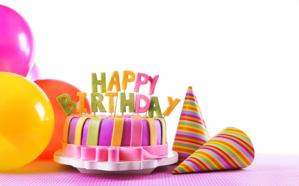 Holiday Birthday Cake Balloon Colorful HD Wallpaper | Background Image