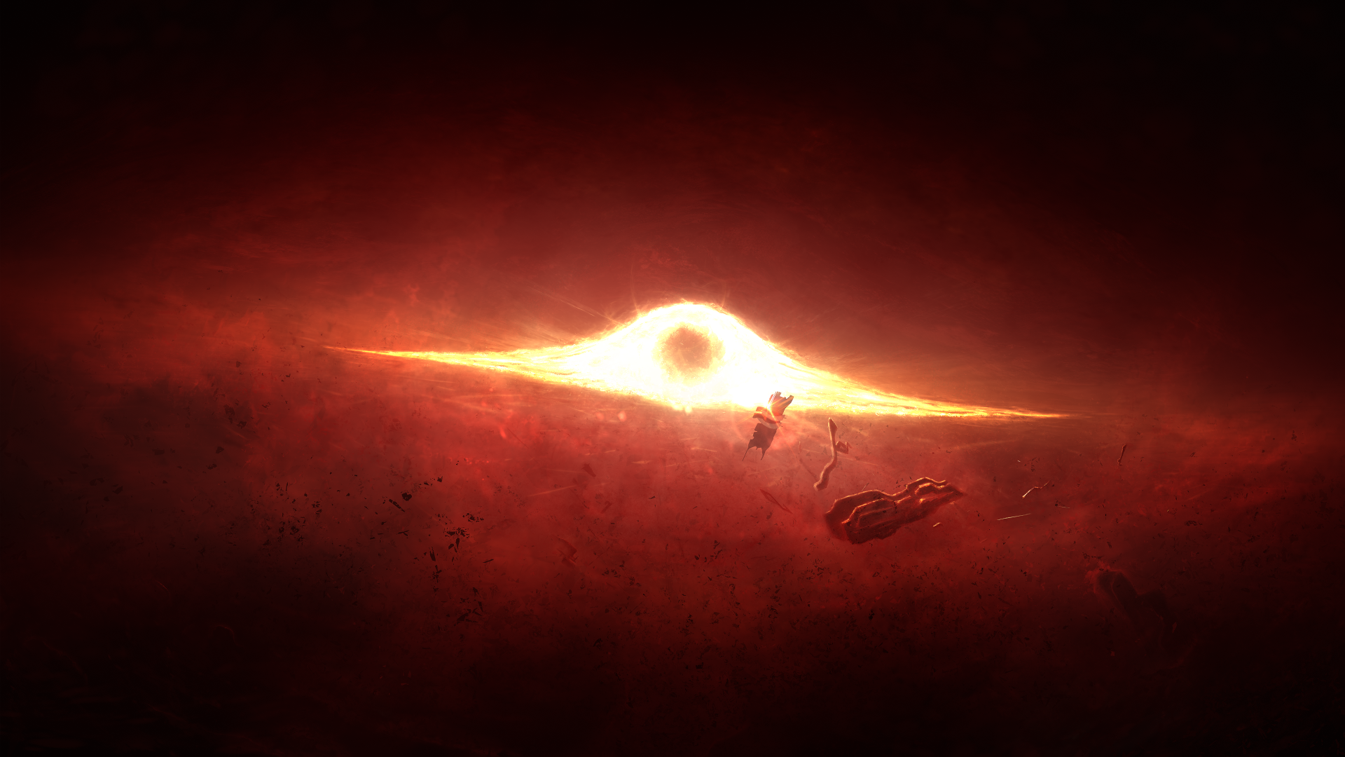Video Game - Mass Effect 2  Explosion Orange Space Black Hole Wallpaper