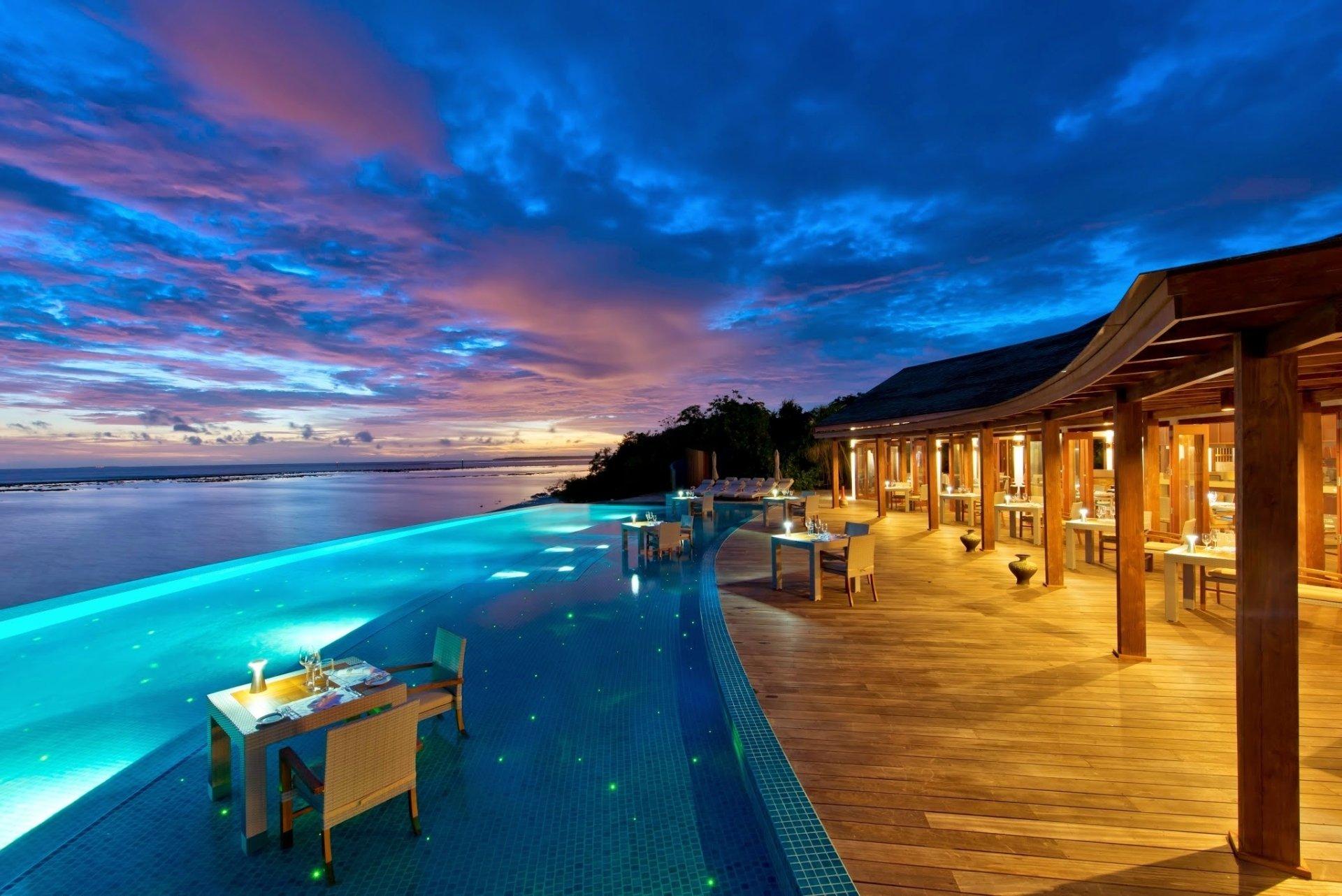 Man Made - Resort  Man Made Tropical Sunset Pool Wallpaper