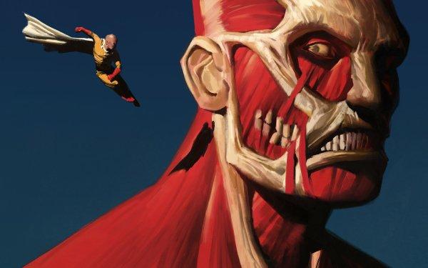 Anime Crossover One-Punch Man Saitama Colossal Titan Ataque a los titanes Fondo de pantalla HD | Fondo de Escritorio