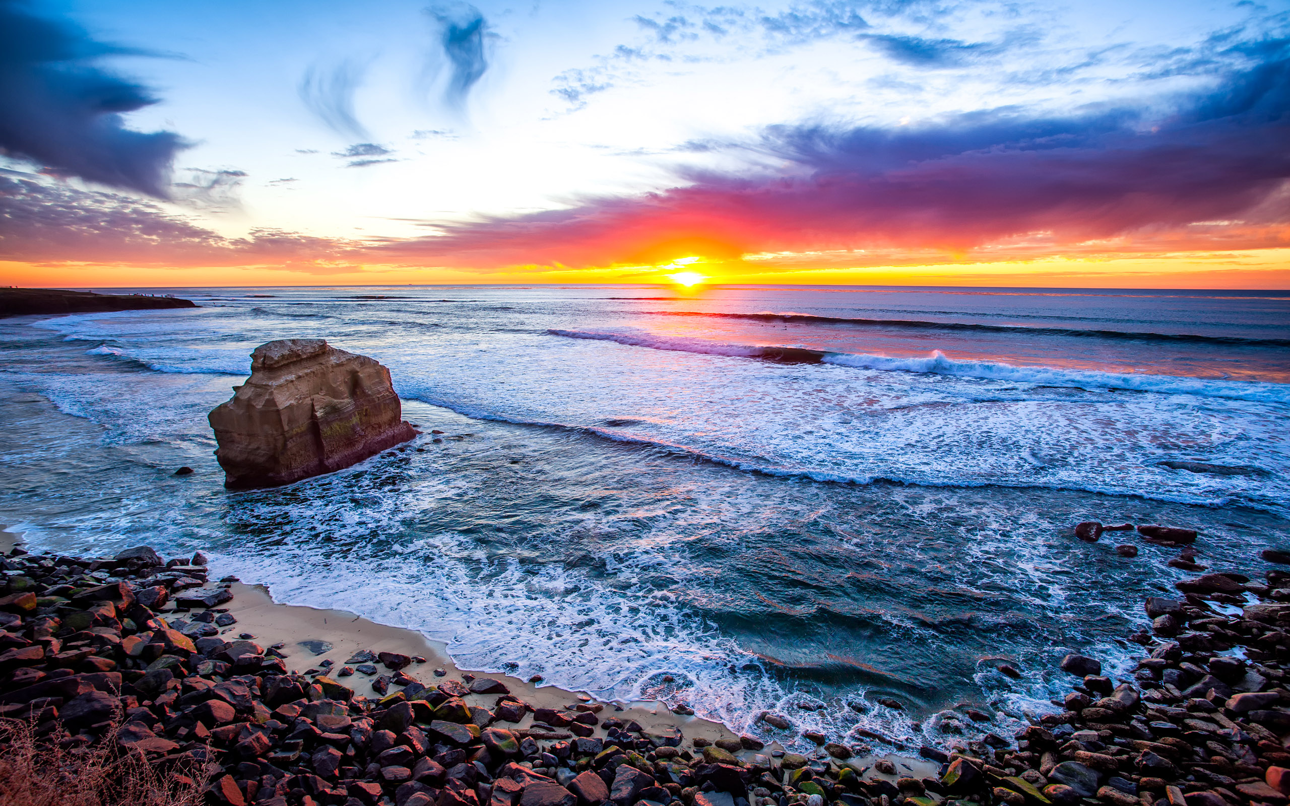 Sunset Over San Diego Beach Hd Wallpaper Background Image