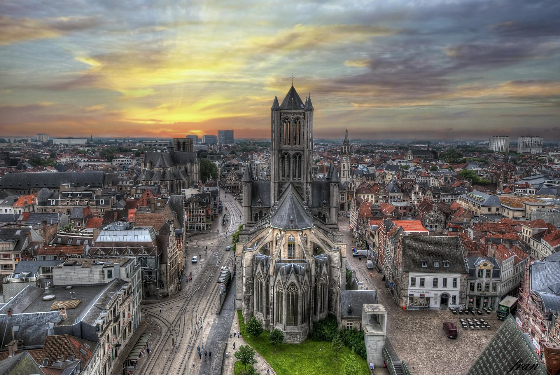 Man Made - Ghent  Man Made Belgium City Cityscape Building Panorama Architecture Wallpaper