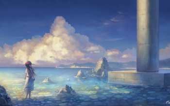 Anime Original Girl Scenery Water Sky Cloud HD Wallpaper | Background Image