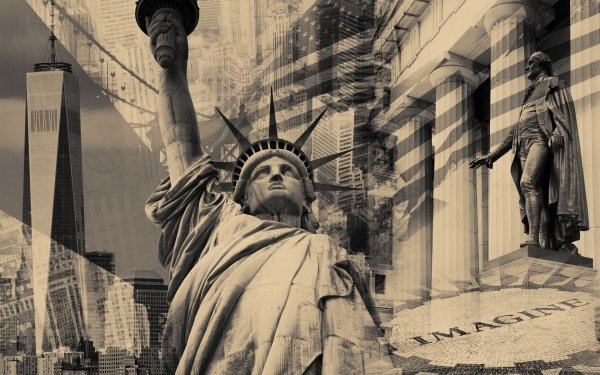 Man Made New York Cities United States Statue of Liberty Sepia HD Wallpaper | Background Image