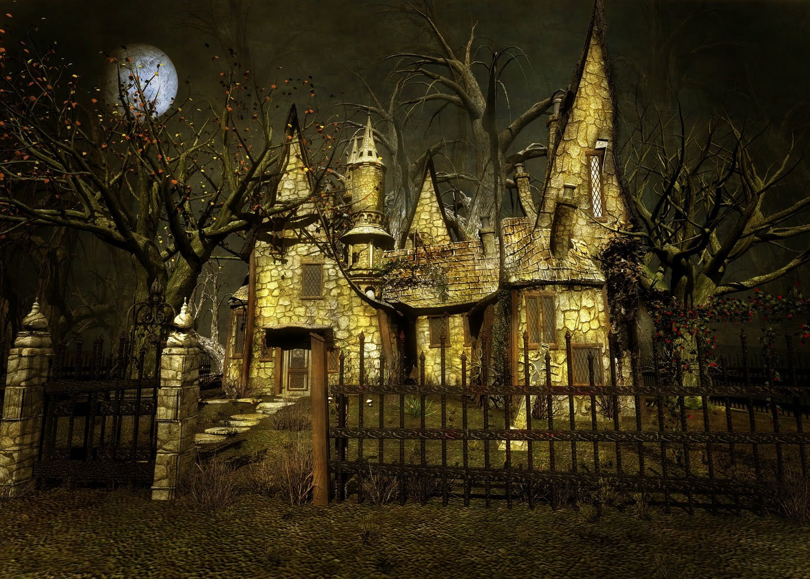 Artistic - House  Artistic Fantasy Fence Unusual Spooky Wallpaper