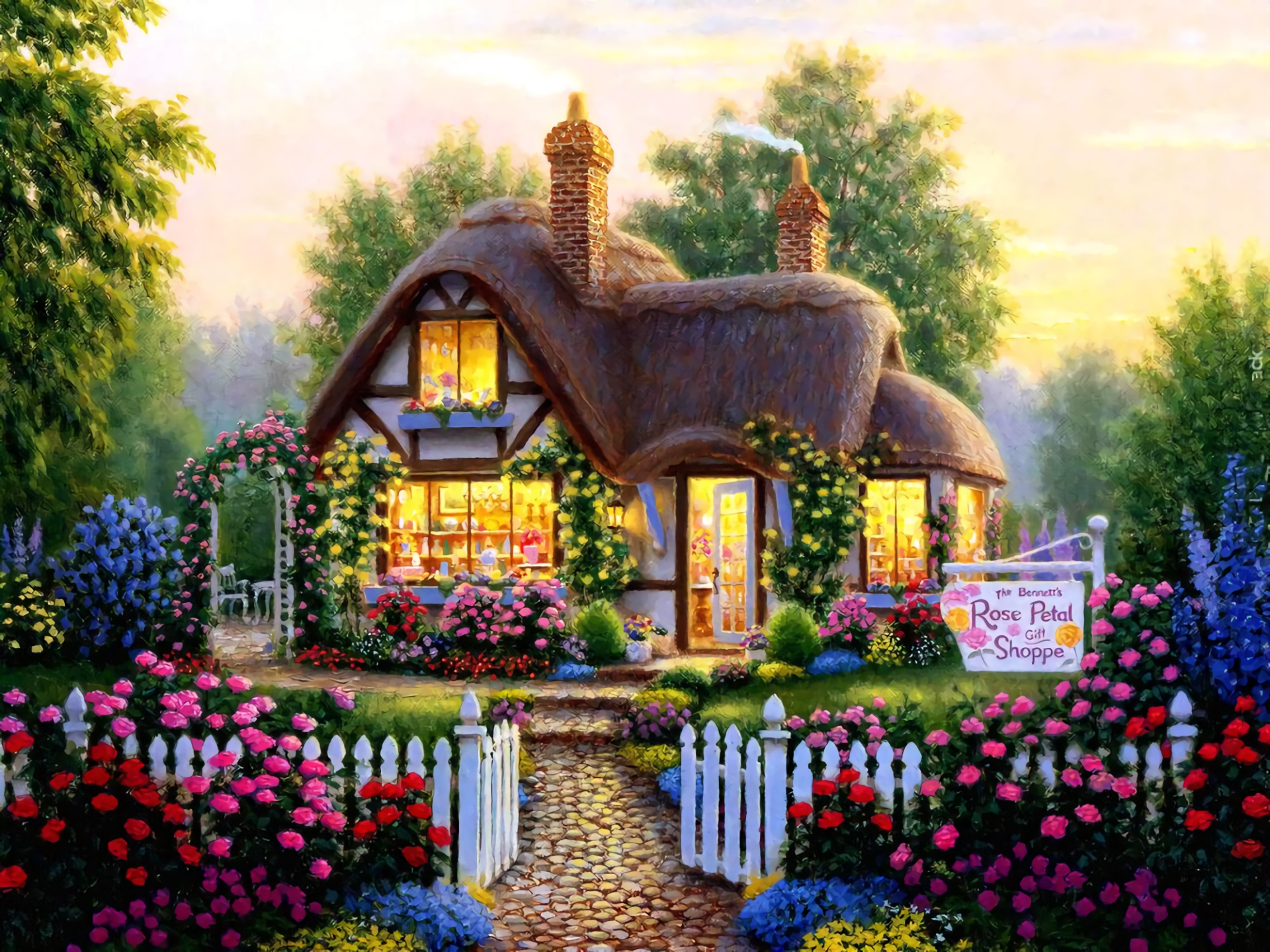 Artistic - House  Artistic Painting Cottage Flower Wallpaper