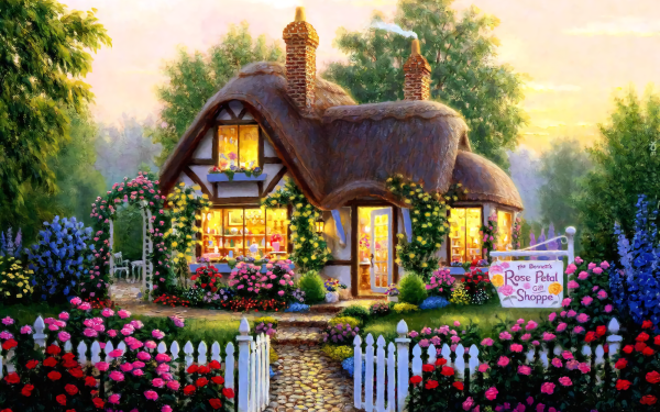 Artistic House Painting Cottage Flower HD Wallpaper | Background Image