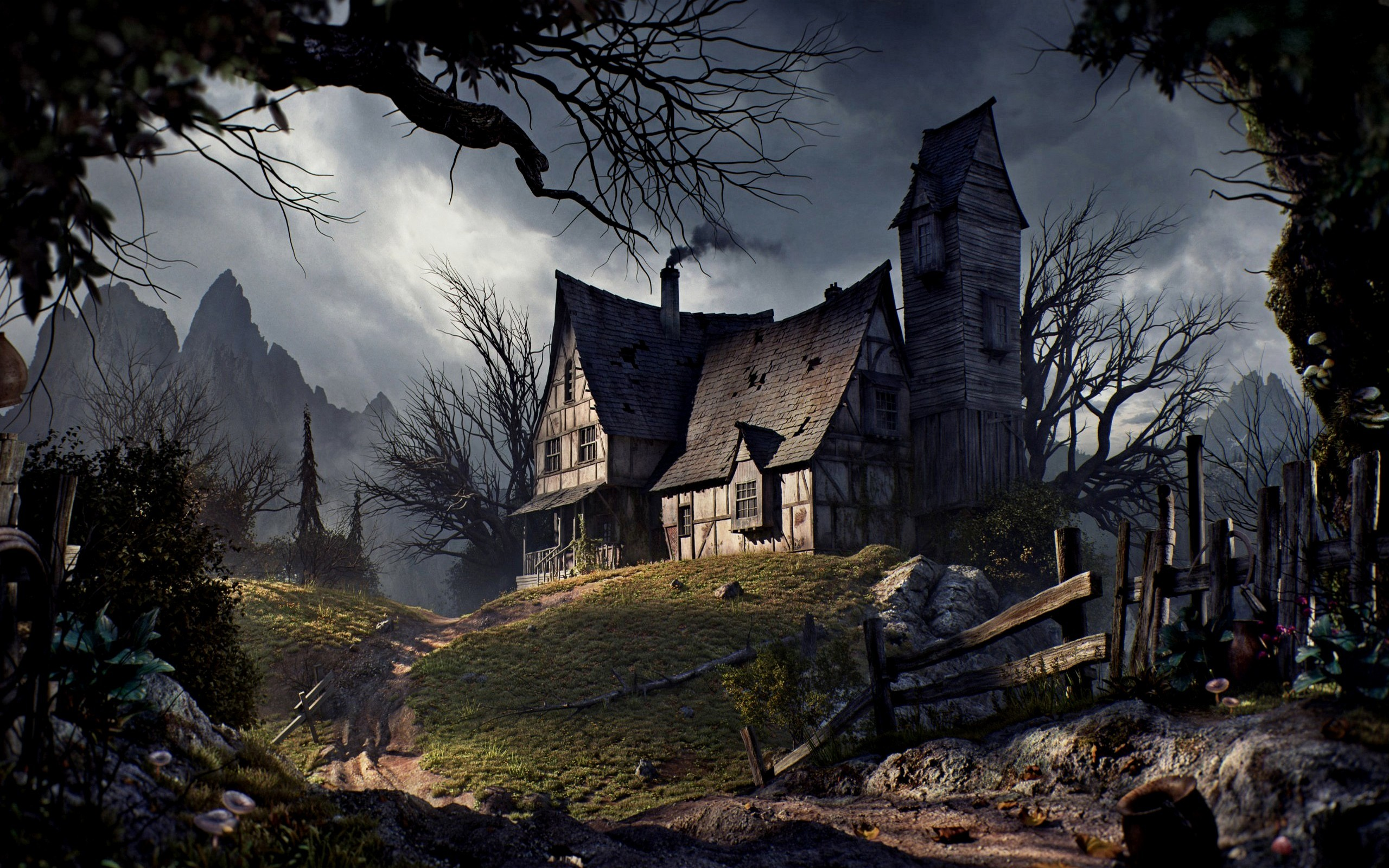 Old House On A Hill HD Wallpaper