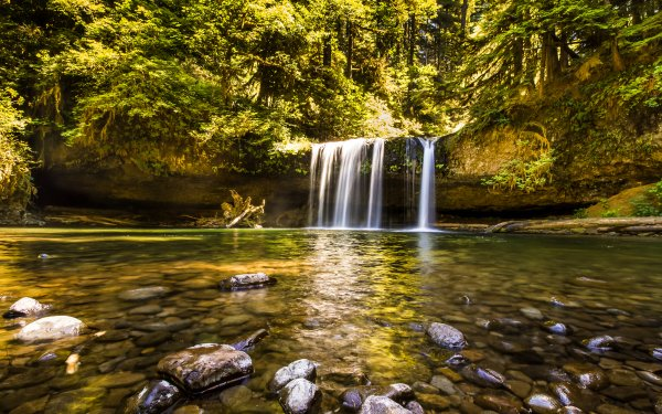 Earth Waterfall Waterfalls USA Oregon Forest Stone Tree Sunny Nature HD Wallpaper   Background Image