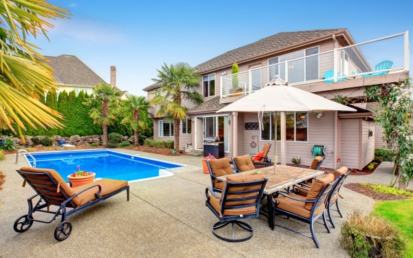 Man Made House Buildings Pool Chair HD Wallpaper   Background Image