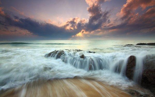 Earth Ocean Nature Wave Rock Cloud Seascape HD Wallpaper | Background Image