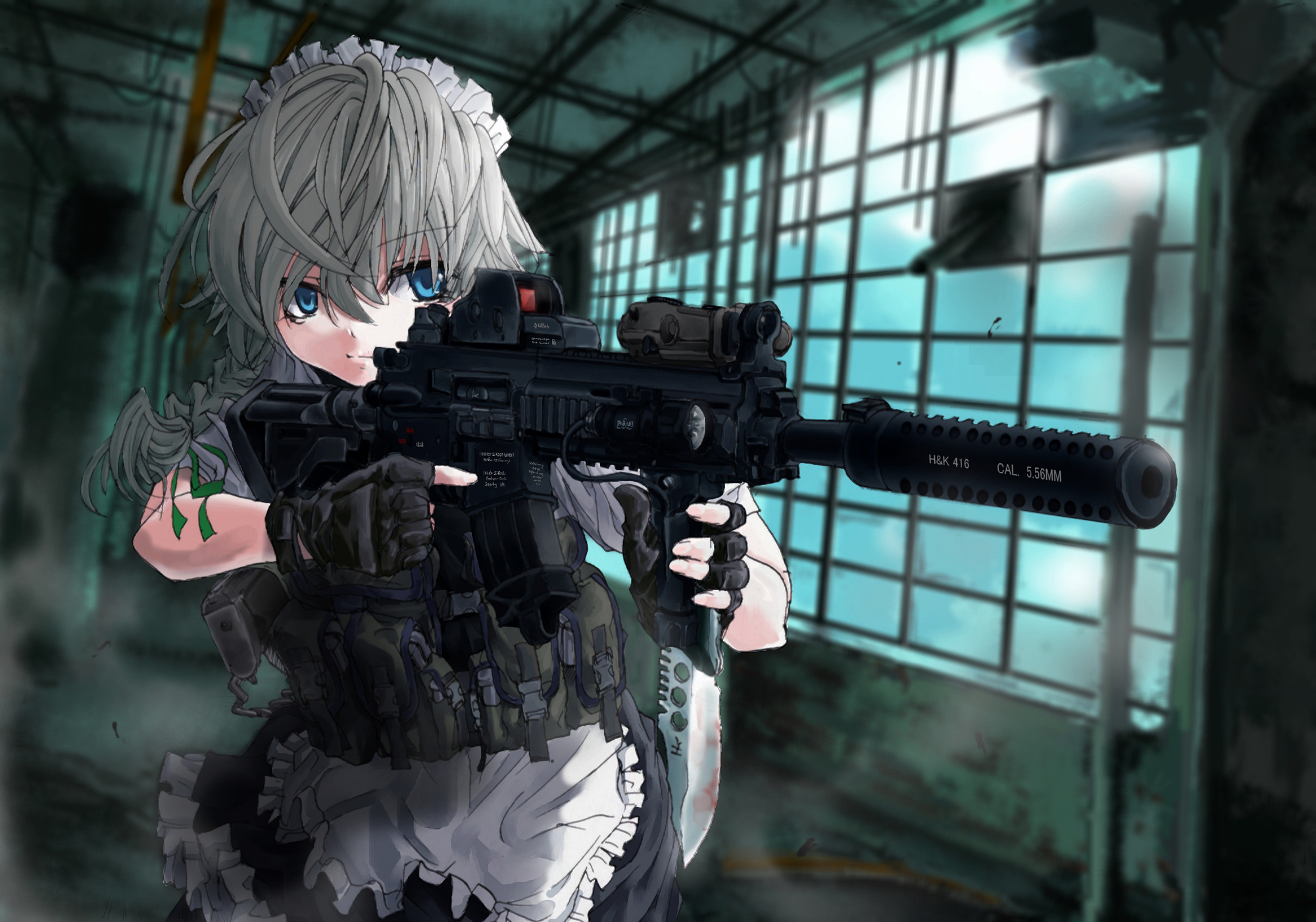 Touhou hd wallpaper background image 2000x1401 id - Gun girl anime ...