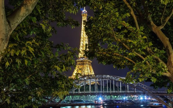 Man Made Eiffel Tower Monuments Paris France Light Night HD Wallpaper   Background Image
