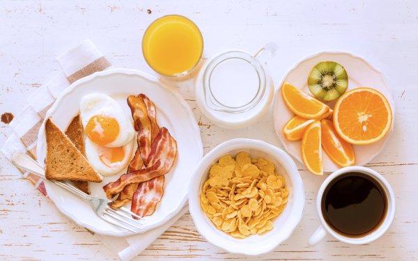 Food Breakfast Still Life Coffee Juice Bacon Egg Milk orange HD Wallpaper   Background Image