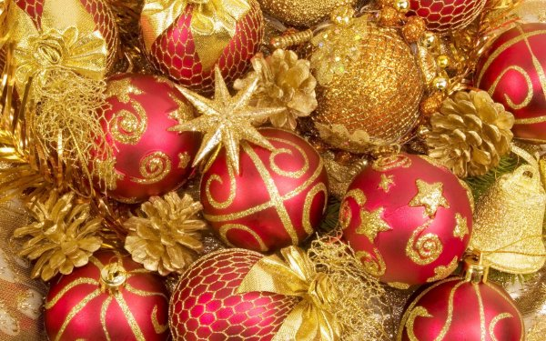 Holiday Christmas Christmas Ornaments Red Pine Cone Golden Decoration HD Wallpaper   Background Image