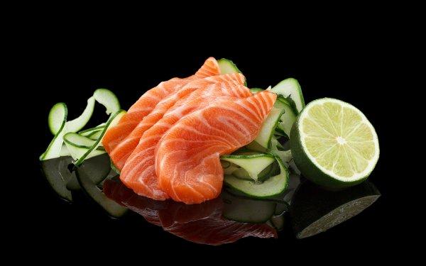 Food Fish Seafood Lemon Cucumber Reflection Salmon HD Wallpaper | Background Image