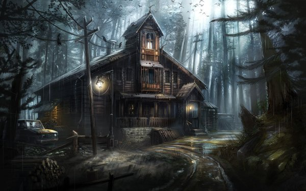 Artistic House Haunted Forest HD Wallpaper | Background Image