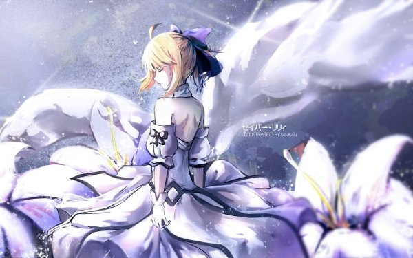 Anime Fate/Grand Order Fate Series Saber Saber Lily Blonde Dress White Dress Glove Collar Flower Fate HD Wallpaper | Background Image