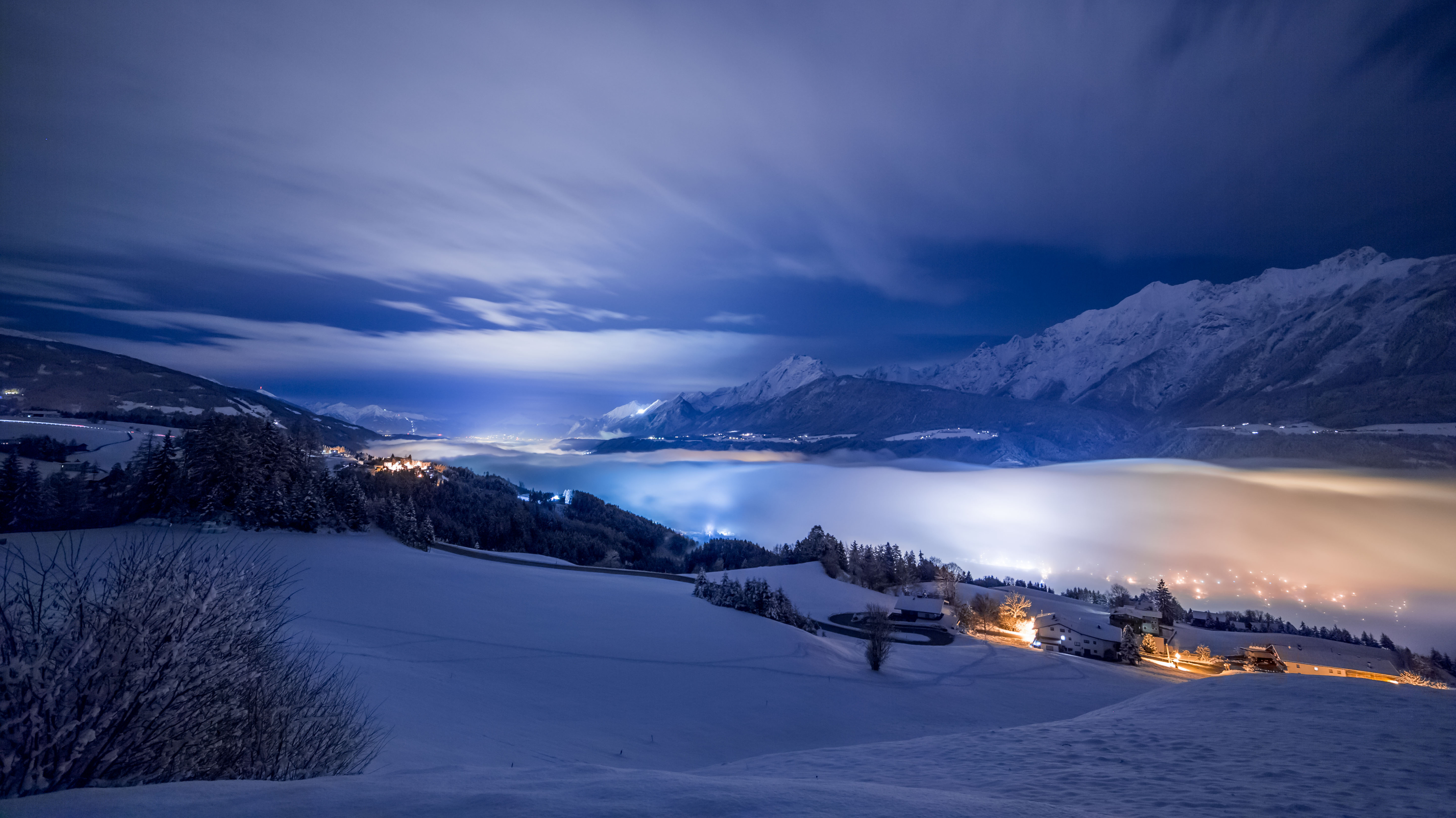 Winter Night In The Mountains Hd Wallpaper Background