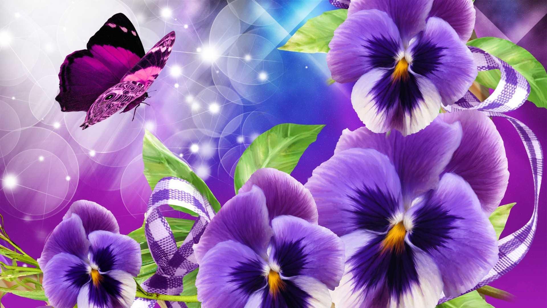Wallpapers papillon hd le color de fleur x fonds d cran photo 1366x768 - Artistique Papillon Artistique Fleur Pens E Purple Flower Fond D Cran