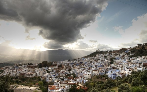 Man Made Town Towns Cloud Sky Landscape Morocco Sunbeam HD Wallpaper   Background Image