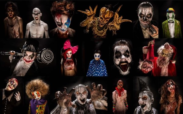 Holiday Halloween Collage Scary Evil Creepy Clown HD Wallpaper | Background Image