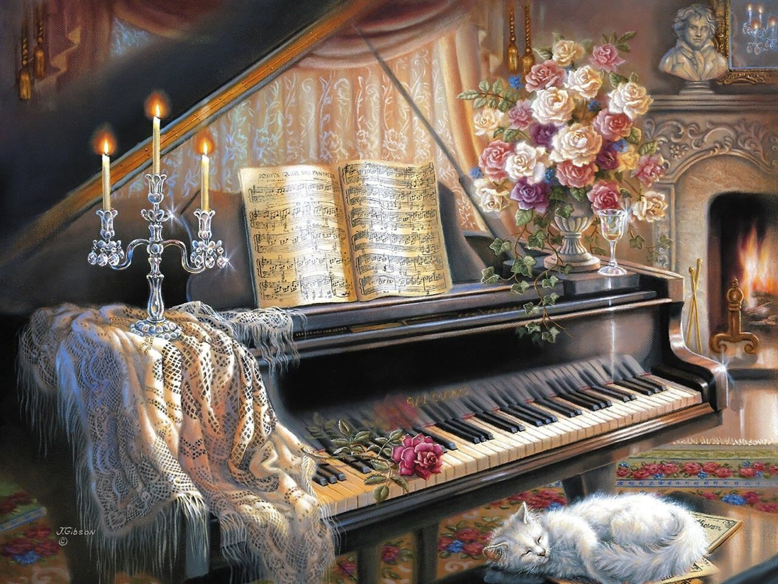 Lovely living room with piano and fireplace wallpaper and - Cool piano backgrounds ...