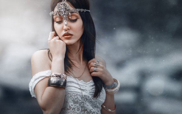 Women Mood Woman Jewelry Piercing Brunette HD Wallpaper | Background Image