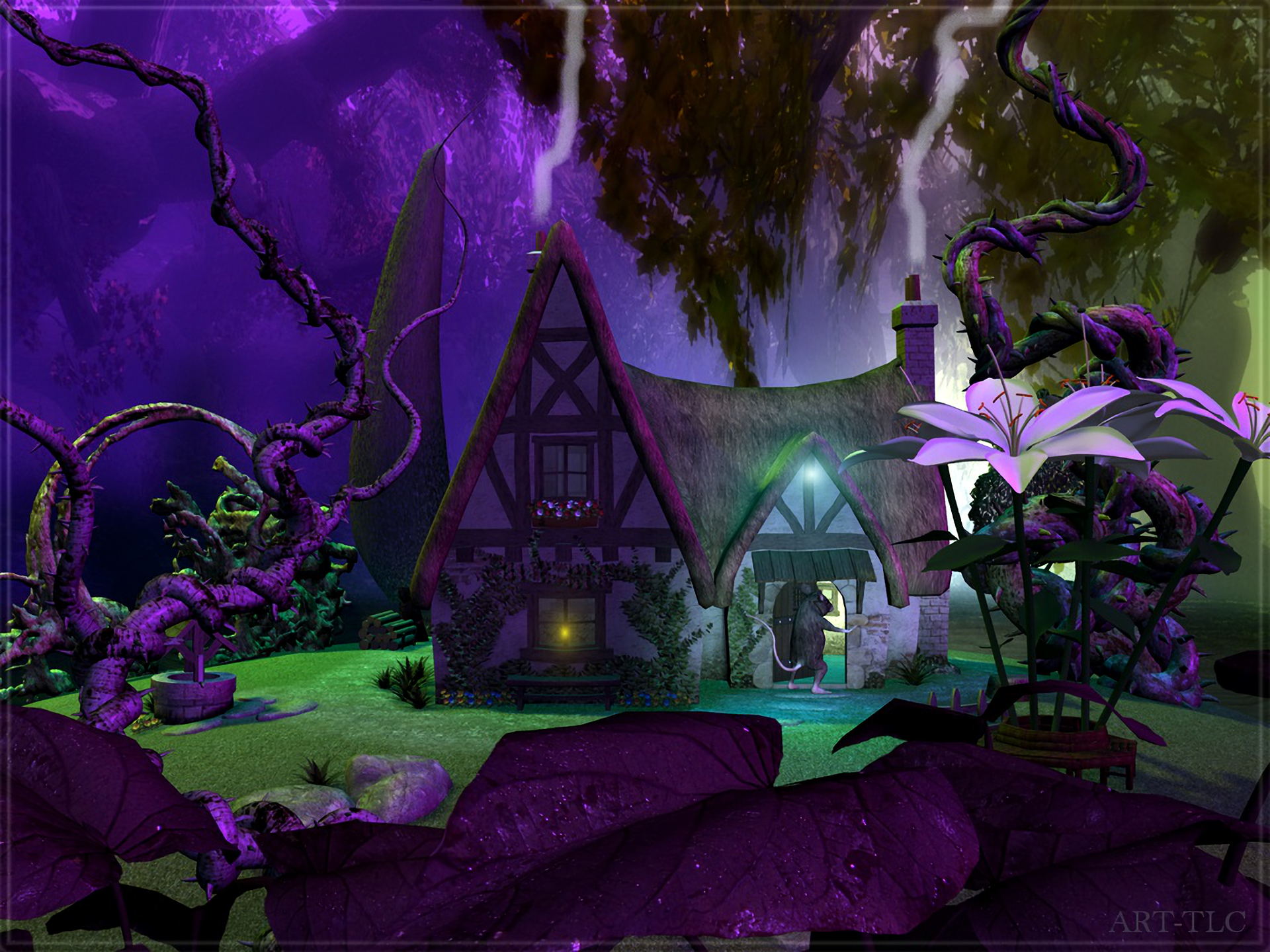 Purple fantasy house full hd wallpaper and background for Purple wallpaper for home