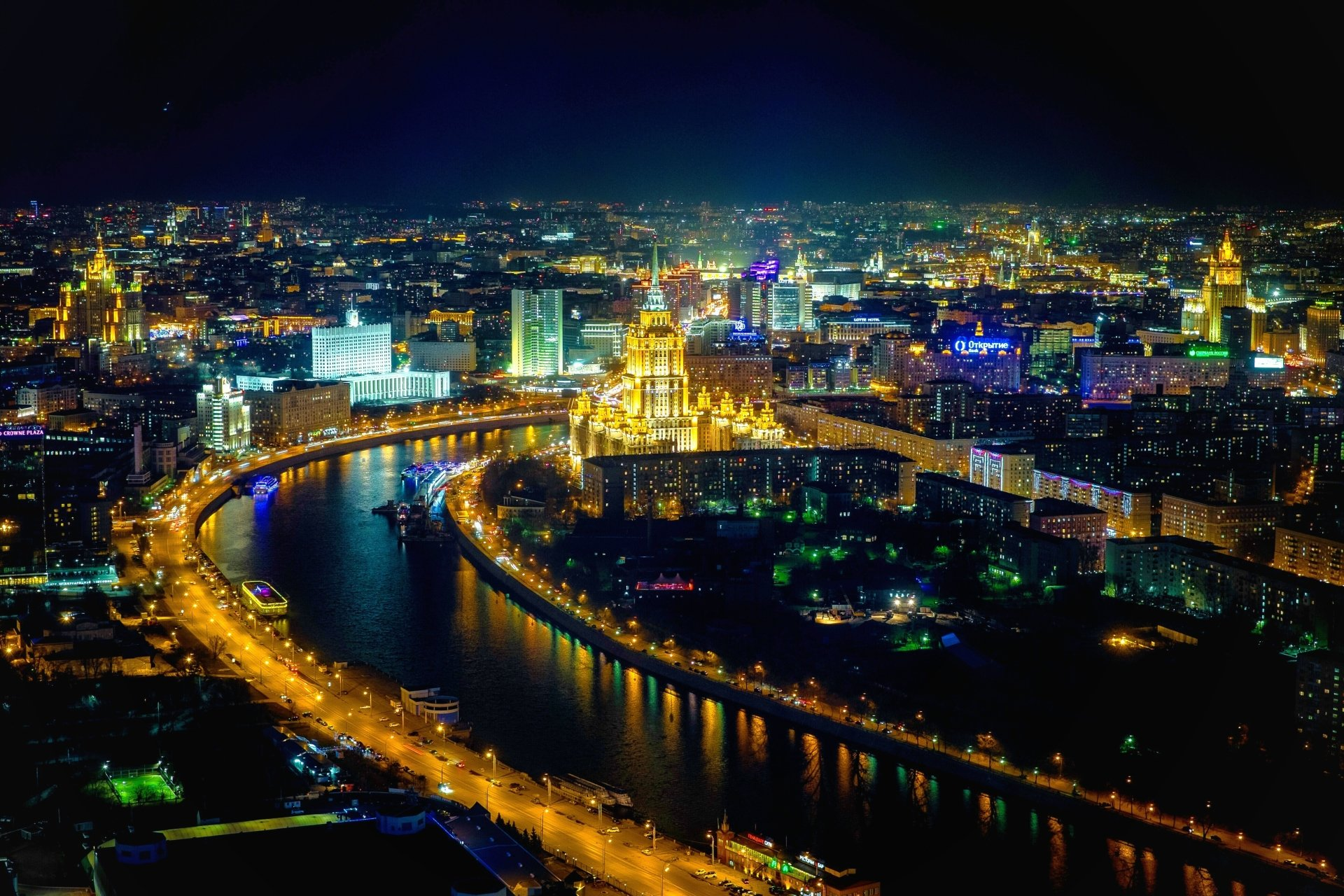 Man Made - Moscow  Aerial River Night Light Cityscape City Horizon Russia Wallpaper