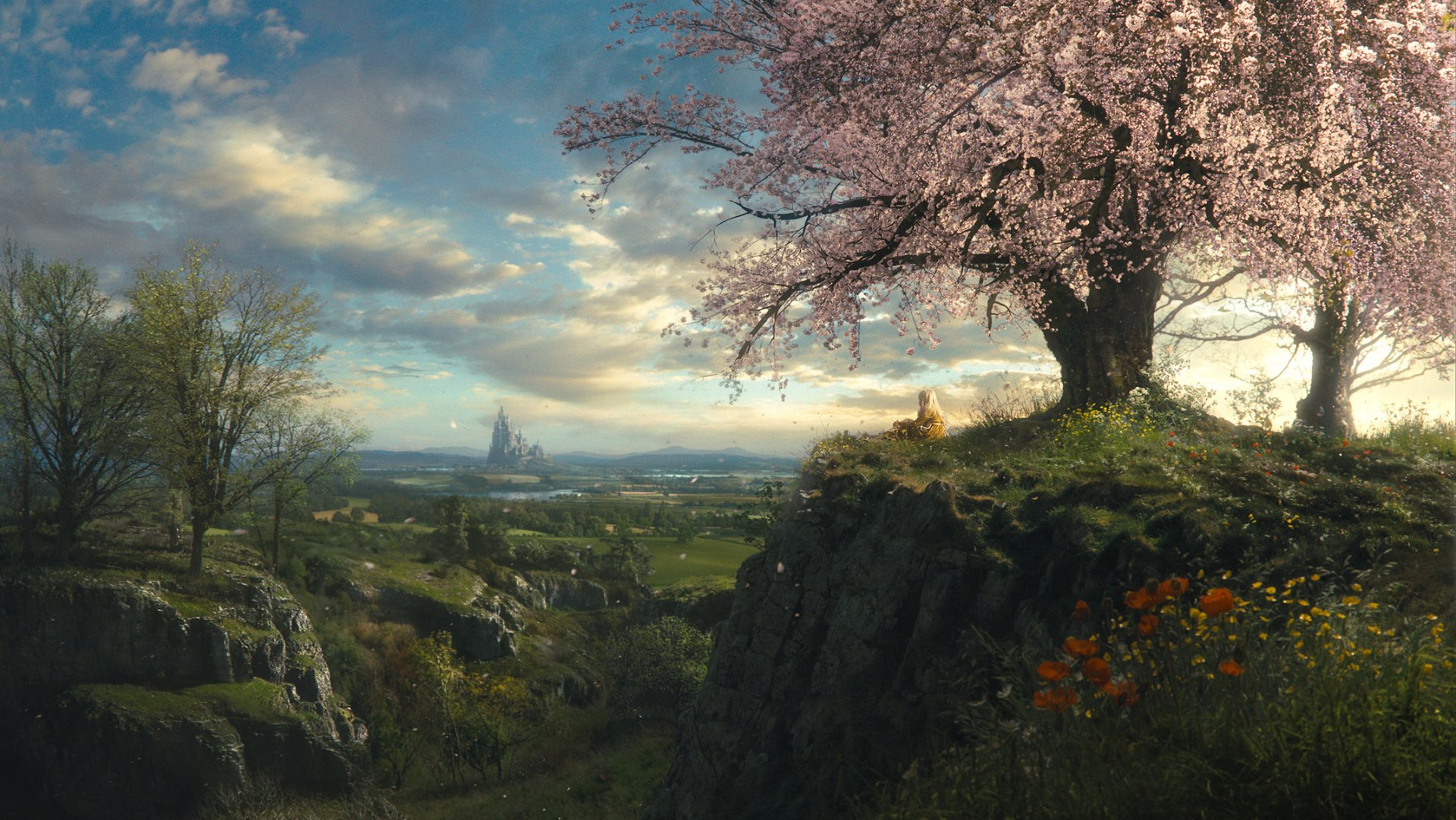 Fantasy - Landscape  Fantasy Mountain Tree Blossom Girl Wallpaper