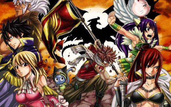 Anime Fairy Tail Lucy Heartfilia Natsu Dragneel Wendy Marvell Gray Fullbuster Erza Scarlet Elfman Strauss Happy Charles Igneel HD Wallpaper | Background Image