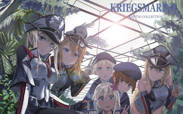 Anime Kantai Collection Bismarck Prinz Eugen Ro-500 HD Wallpaper | Background Image