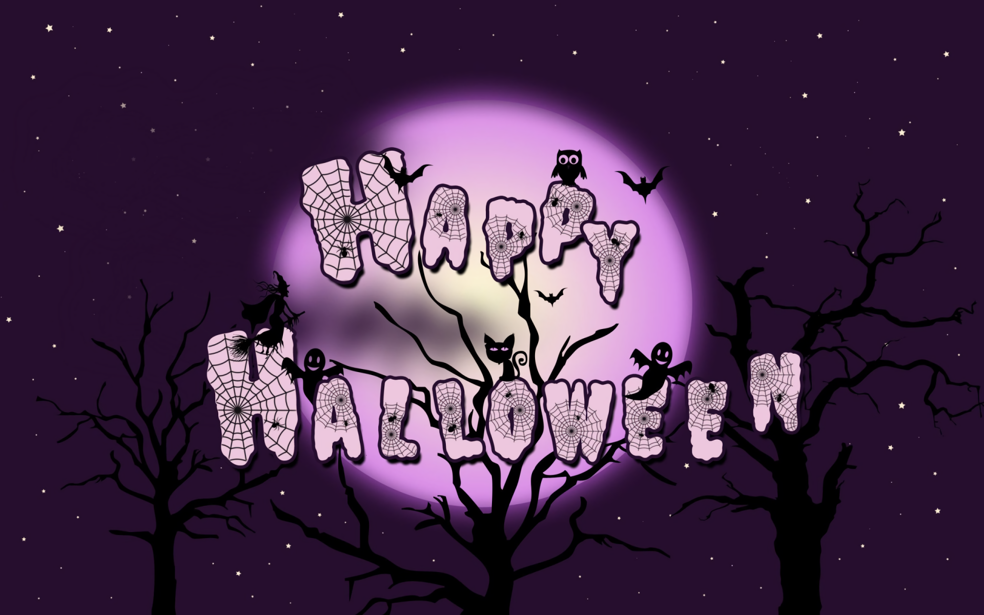 Holiday - Halloween  Holiday Happy Halloween Purple Moon Starry Sky Owl Wallpaper