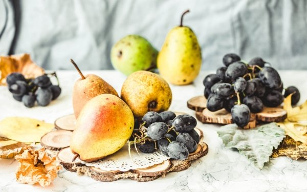 Food Fruit Fruits Fall Pear Grapes HD Wallpaper | Background Image