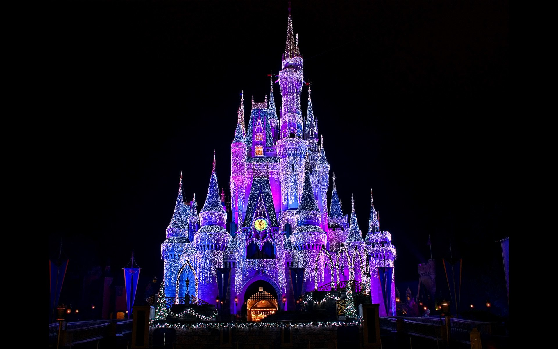 Lighted cinderella castle at disneyland full hd wallpaper and man made walt disney world cinderella castle castle light disneyland wallpaper voltagebd Images