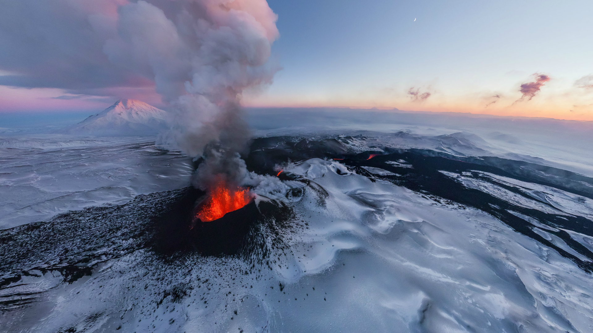 Volcano Under The Ice Hd Wallpaper Background Image