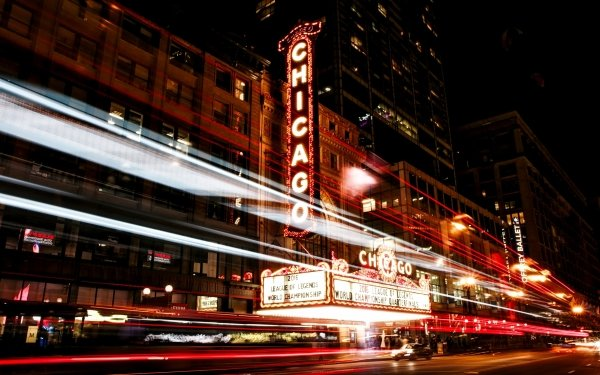 Man Made Chicago Cities United States City USA Night Time-Lapse Light Building HD Wallpaper | Background Image