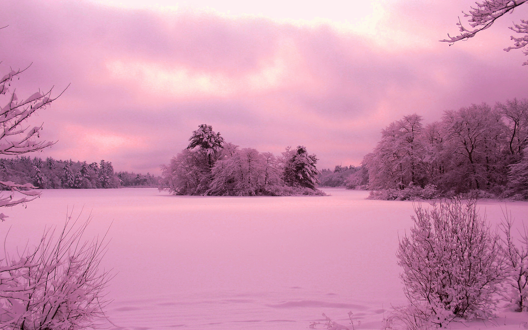 purple sunset over winter landscape wallpaper and