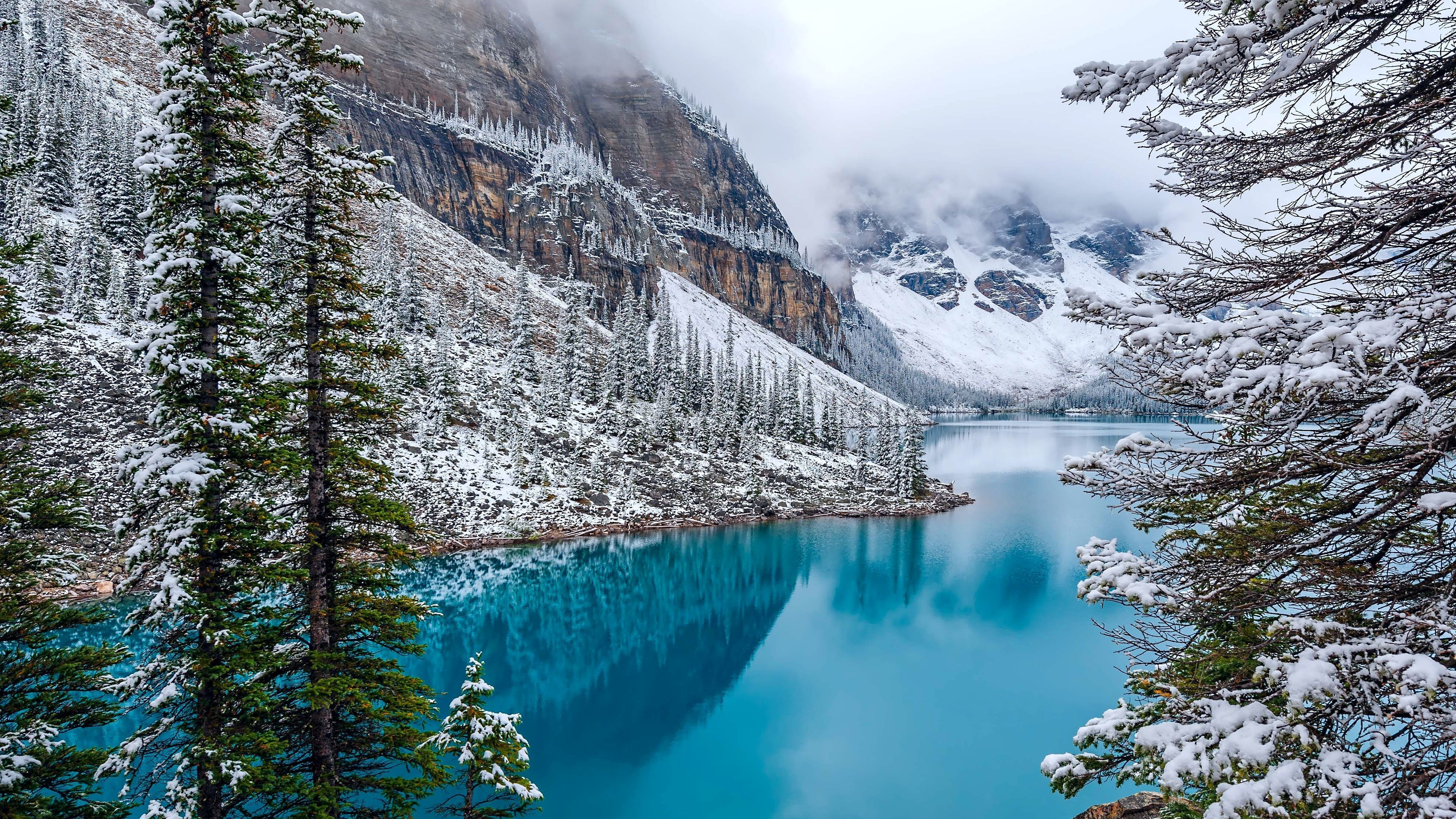Moraine Lake In Winter 4k Ultra Fondo De Pantalla Hd Fondo