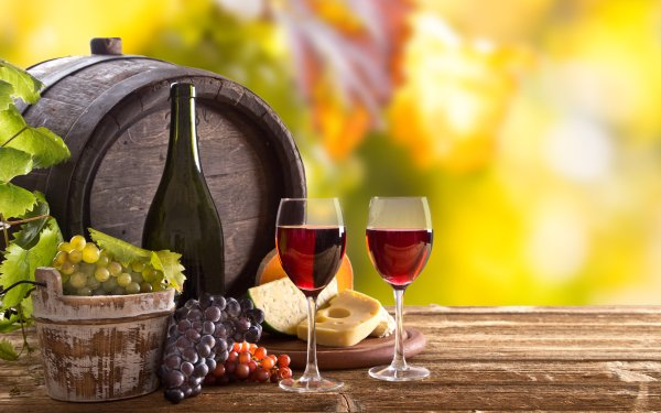 Photography Still Life Glass Grapes Cheese Barrel Wine HD Wallpaper | Background Image