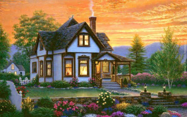 Artistic Painting Cottage Flower Sunset Tree HD Wallpaper | Background Image