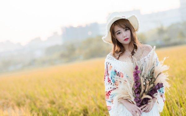 Women Asian Model Hat Brunette Brown Eyes Field Depth Of Field HD Wallpaper | Background Image