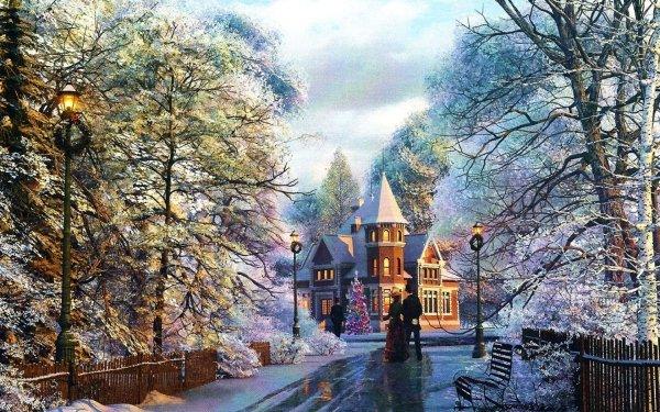Artístico Pintura Navidad Casa Mansión Christmas Tree Banco Street Light Fondo de pantalla HD | Fondo de Escritorio