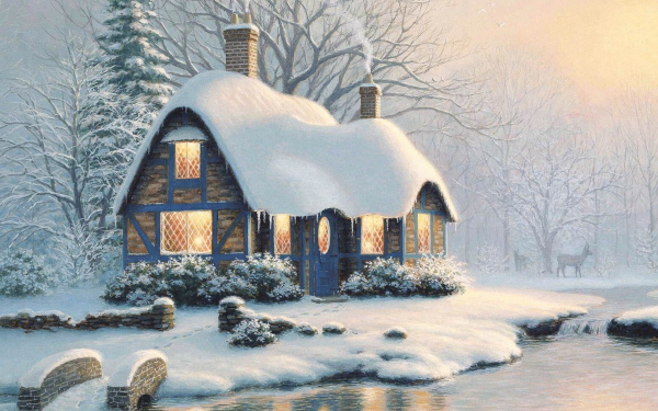 Artistic House Cottage Winter Snow Tree HD Wallpaper | Background Image