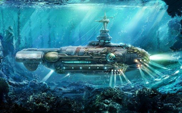 Fantasy Underwater Ocean Nautilus Submarine Steampunk HD Wallpaper | Background Image